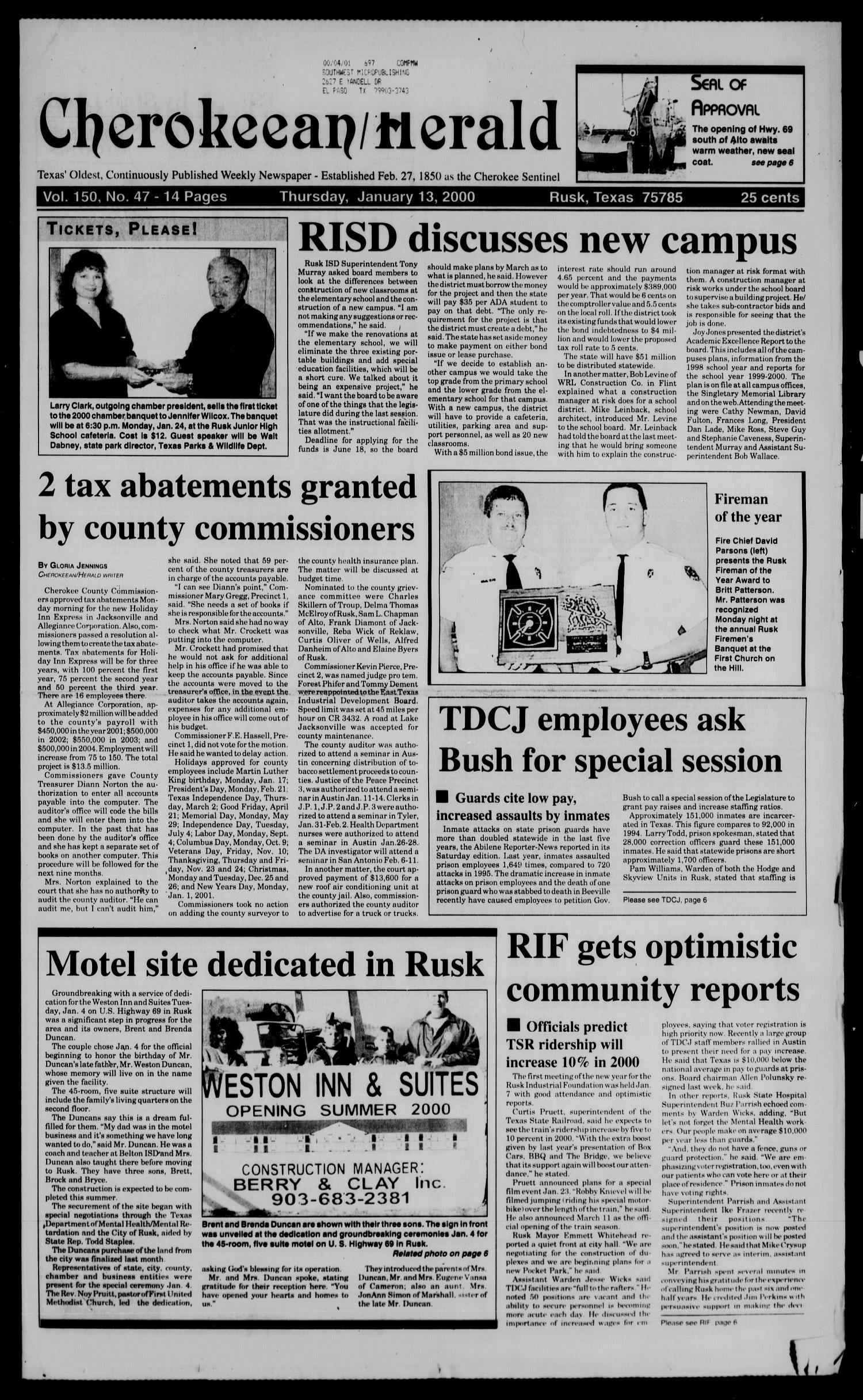 Cherokeean/Herald (Rusk, Tex.), Vol. 150, No. 47, Ed. 1 Thursday, January 13, 2000                                                                                                      [Sequence #]: 1 of 14