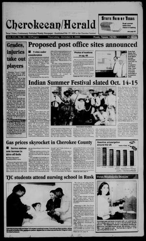 Primary view of object titled 'Cherokeean/Herald (Rusk, Tex.), Vol. 151, No. 33, Ed. 1 Thursday, October 5, 2000'.