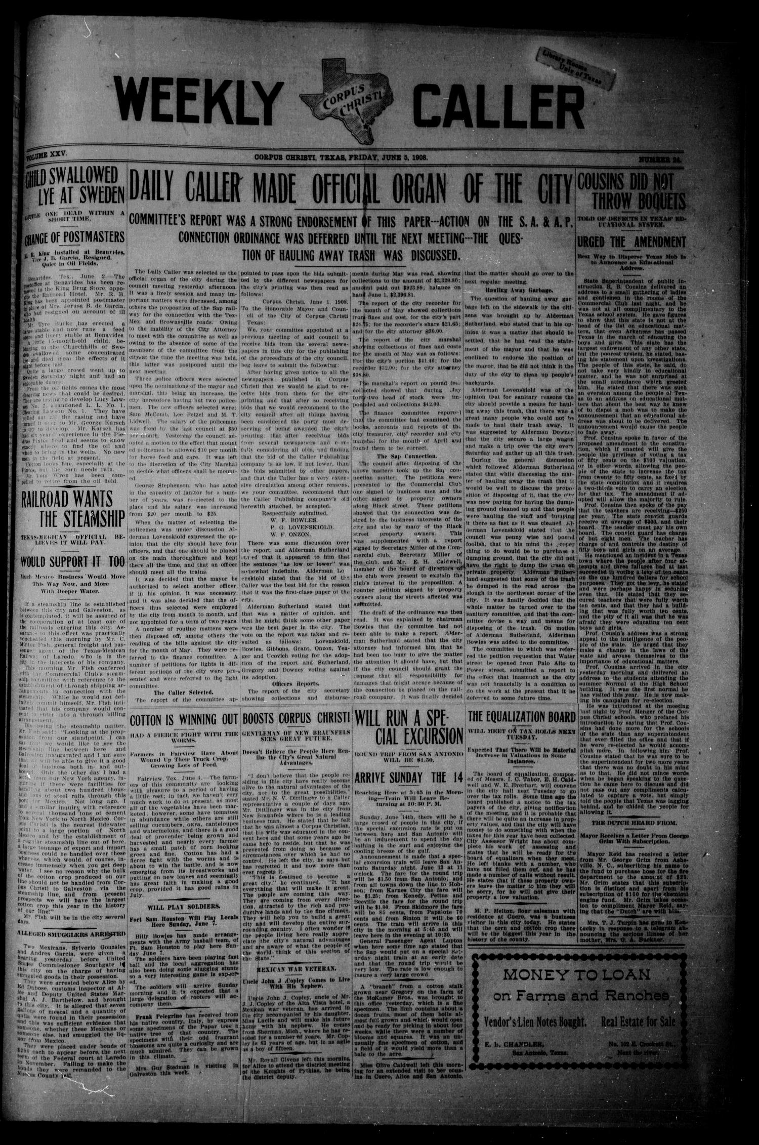 Weekly Corpus Christi Caller (Corpus Christi, Tex.), Vol. 25, No. 24, Ed. 1 Friday, June 5, 1908                                                                                                      [Sequence #]: 1 of 8