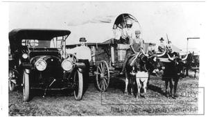 [Auto, ox, wagon, mule team]