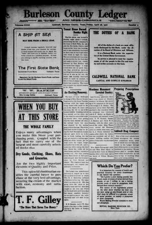 Primary view of Burleson County Ledger and News-Chronicle (Caldwell, Tex.), Vol. 32, No. 9, Ed. 1 Friday, April 28, 1916