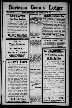 Primary view of object titled 'Burleson County Ledger and News-Chronicle (Caldwell, Tex.), Vol. 34, No. 51, Ed. 1 Friday, February 27, 1920'.
