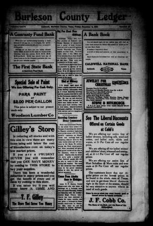 Primary view of object titled 'Burleson County Ledger and News-Chronicle (Caldwell, Tex.), Vol. 36, No. 41, Ed. 1 Friday, December 9, 1921'.
