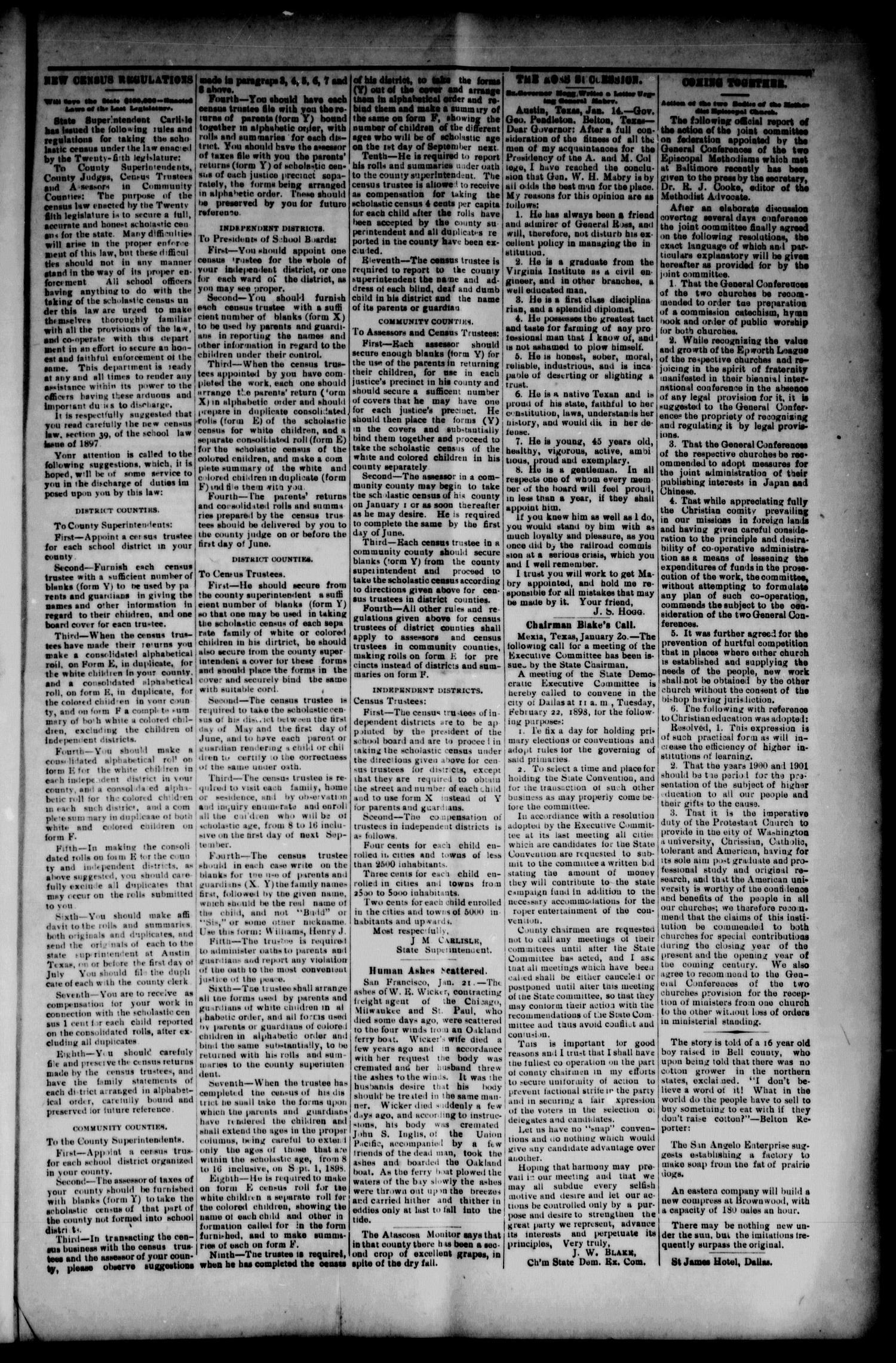 The Caldwell News-Chronicle (Caldwell, Tex.), Vol. 18, No. 37, Ed. 1 Friday, January 28, 1898                                                                                                      [Sequence #]: 5 of 12