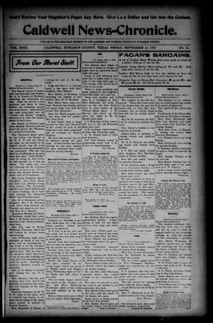 Primary view of object titled 'Caldwell News-Chronicle. (Caldwell, Tex.), Vol. 23, No. 16, Ed. 1 Friday, September 12, 1902'.