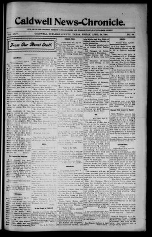 Primary view of object titled 'Caldwell News-Chronicle. (Caldwell, Tex.), Vol. 24, No. 49, Ed. 1 Friday, April 29, 1904'.