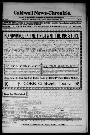 Primary view of object titled 'Caldwell News-Chronicle. (Caldwell, Tex.), Vol. 26, No. 33, Ed. 1 Friday, January 5, 1906'.