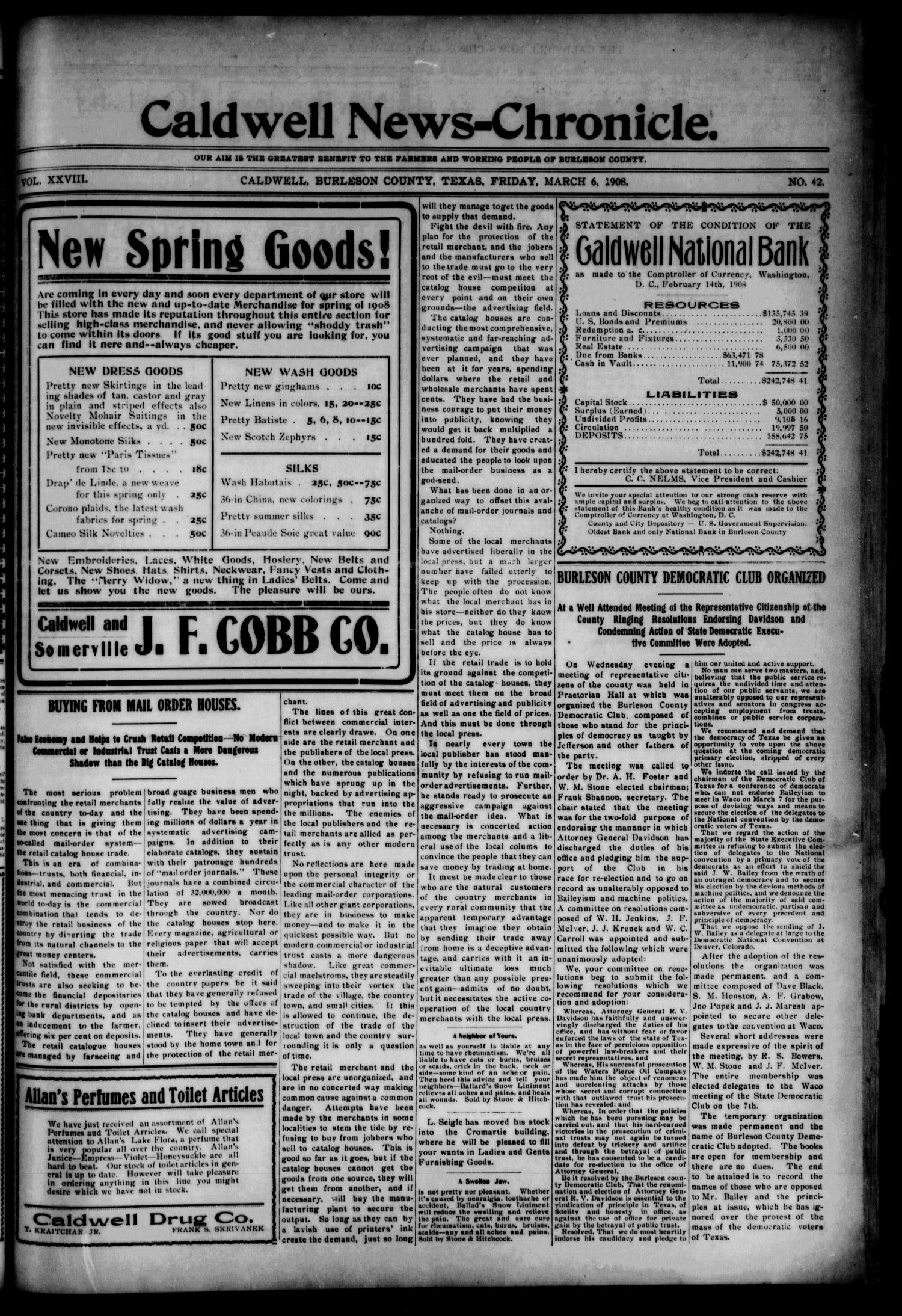 Caldwell News-Chronicle. (Caldwell, Tex.), Vol. 28, No. 42, Ed. 1 Friday, March 6, 1908                                                                                                      [Sequence #]: 1 of 8