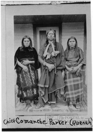 Primary view of object titled 'Quanah Parker with two Wives'.