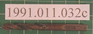"Primary view of object titled '[6"" Length 1/2"" Diameter Drill bit used in drill press.]'."