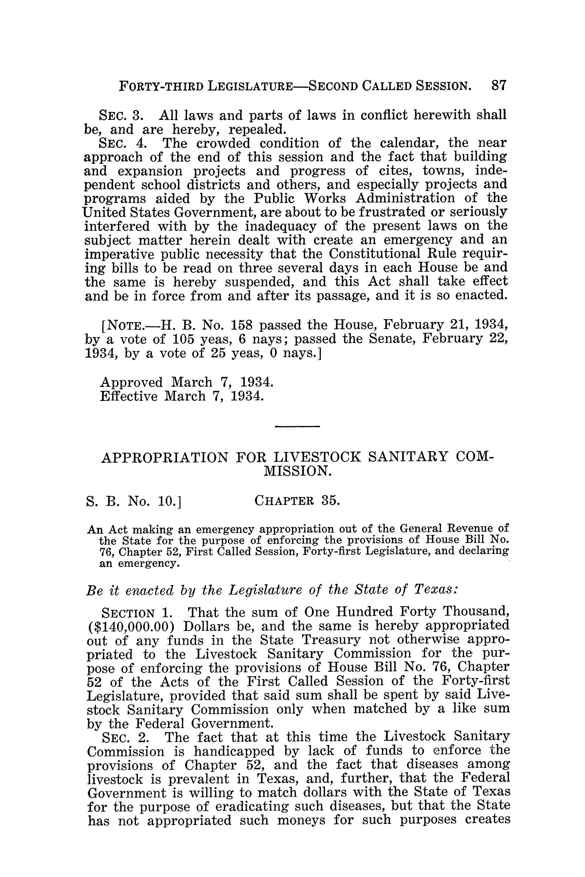 The Laws of Texas, 1934-1935 [Volume 29]                                                                                                      [Sequence #]: 97 of 2086