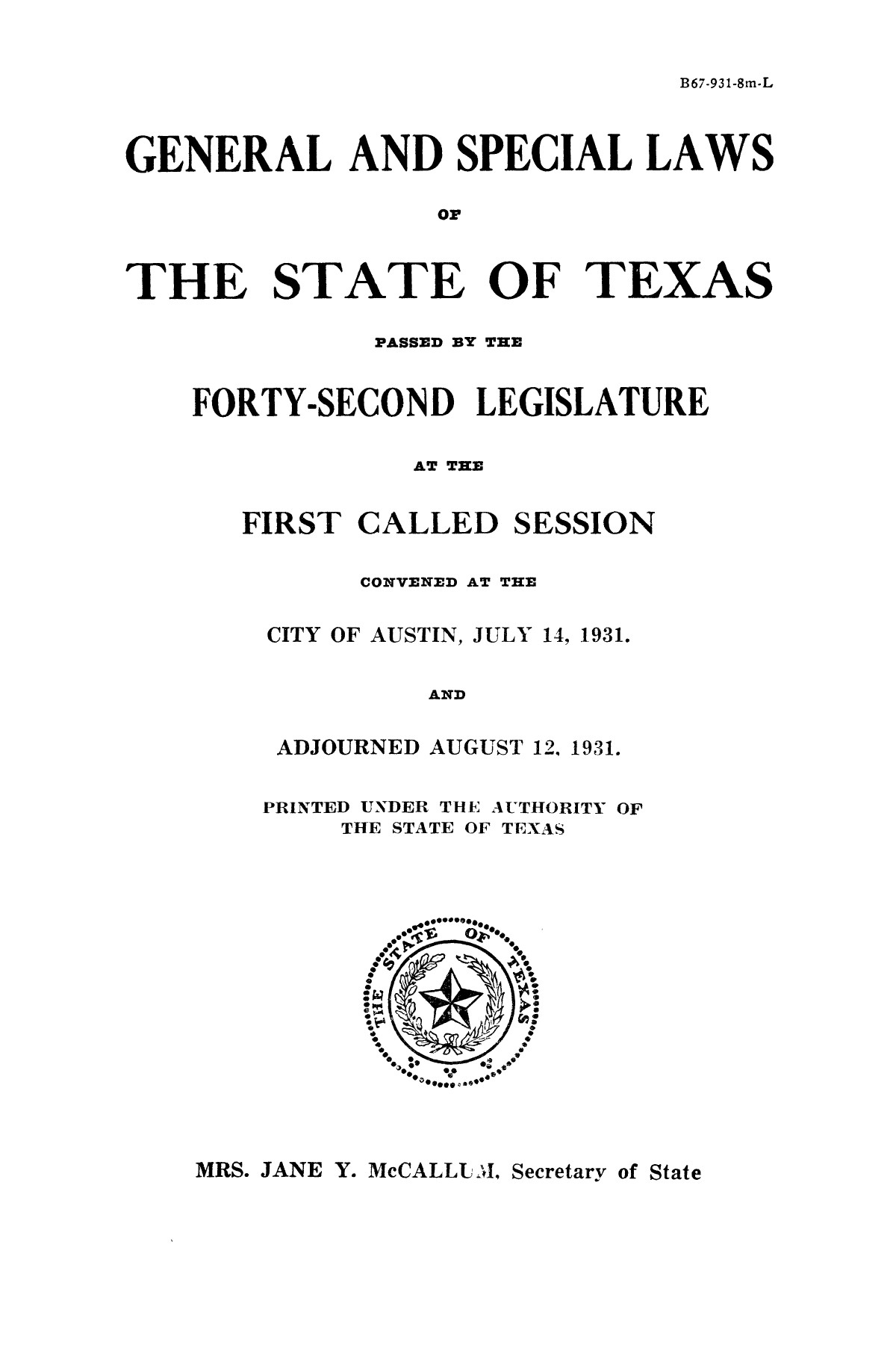 The Laws of Texas, 1931-1933 [Volume 28]                                                                                                      [Sequence #]: 3 of 2111
