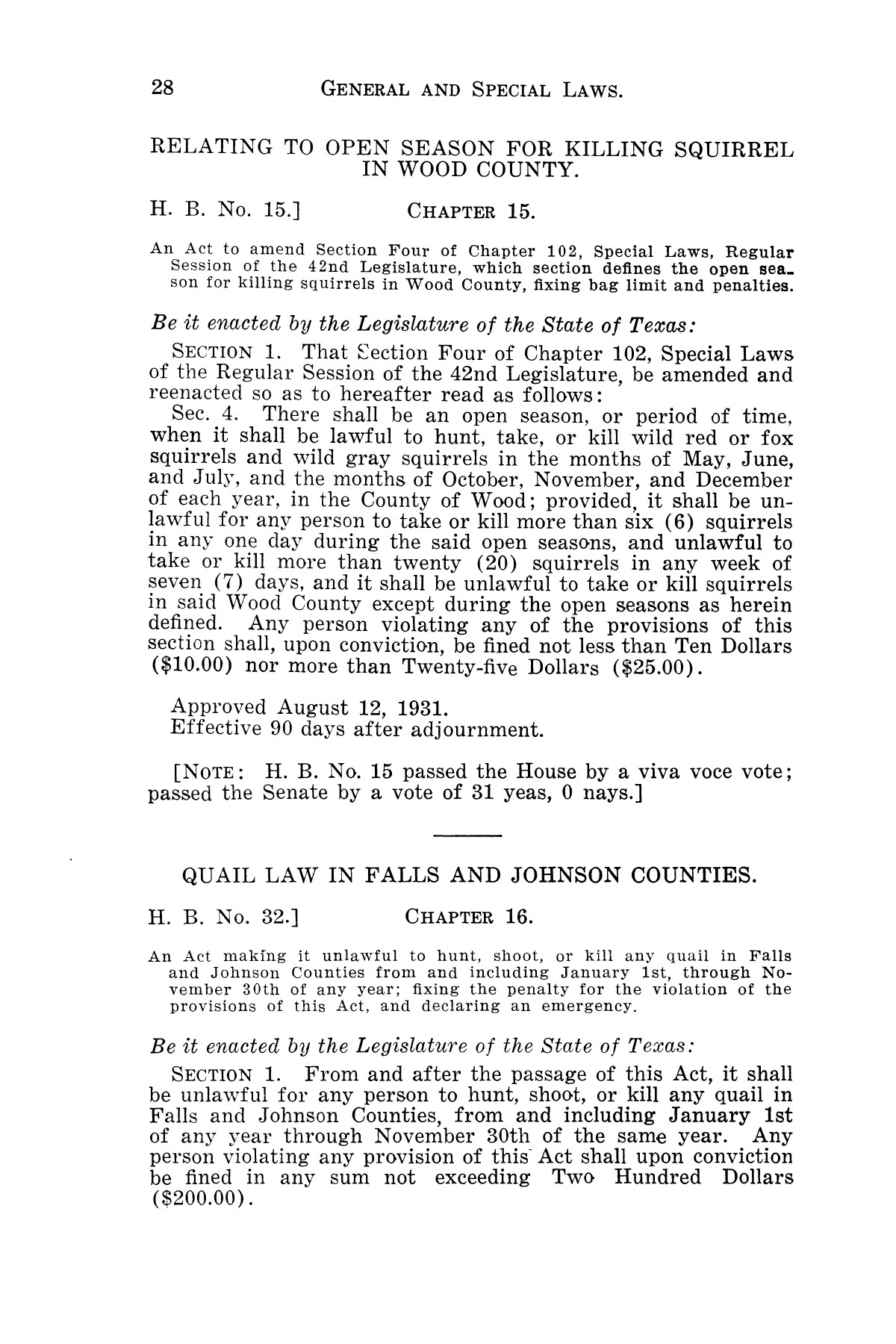 The Laws of Texas, 1931-1933 [Volume 28]                                                                                                      [Sequence #]: 36 of 2111