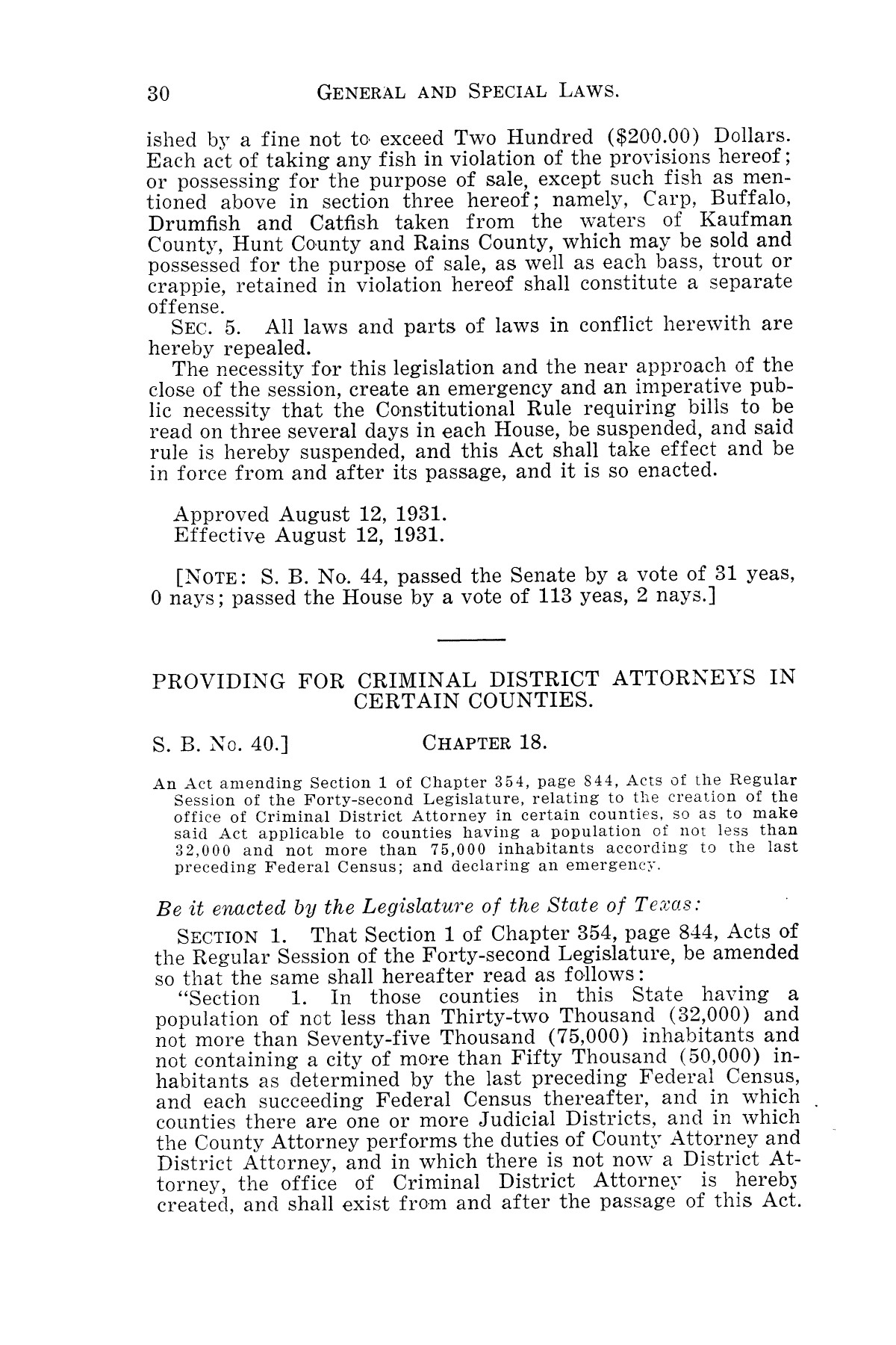 The Laws of Texas, 1931-1933 [Volume 28]                                                                                                      [Sequence #]: 38 of 2111