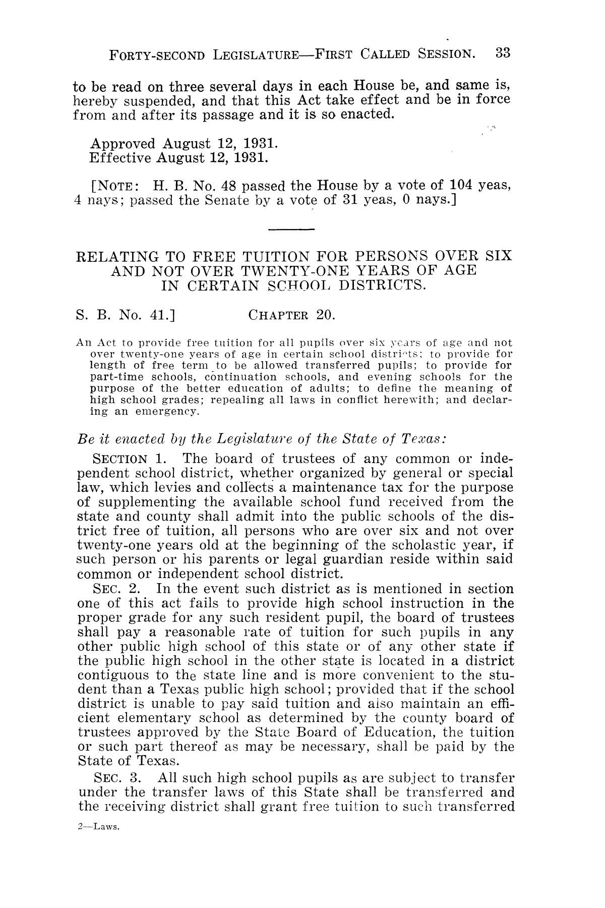 The Laws of Texas, 1931-1933 [Volume 28]                                                                                                      [Sequence #]: 41 of 2111