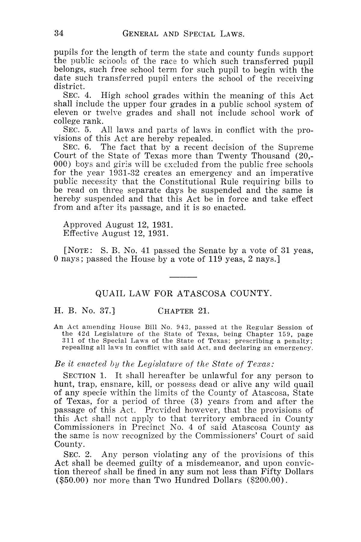 The Laws of Texas, 1931-1933 [Volume 28]                                                                                                      [Sequence #]: 42 of 2111