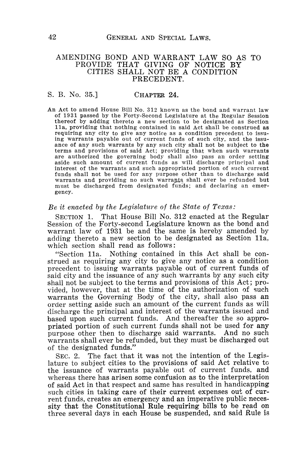The Laws of Texas, 1931-1933 [Volume 28]                                                                                                      [Sequence #]: 50 of 2111