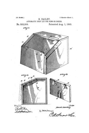 Primary view of object titled 'Automatic Drop-Lid for Bins or Boxes.'.