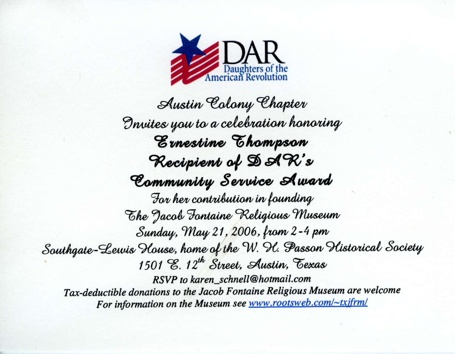 DAR honors Ernestine Thompson                                                                                                      [Sequence #]: 1 of 1