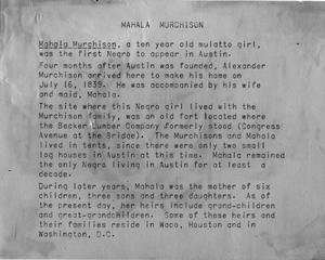 Primary view of object titled 'Mahala Murchison - Short Biography'.