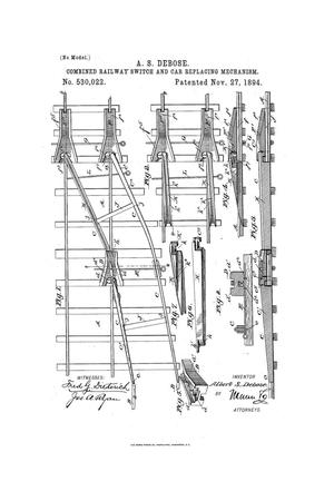 Primary view of object titled 'Combined Railway-Switch and Car-Replacing Mechanism.'.