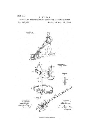 Primary view of Propelling Attachment for Garden or Like Implements.