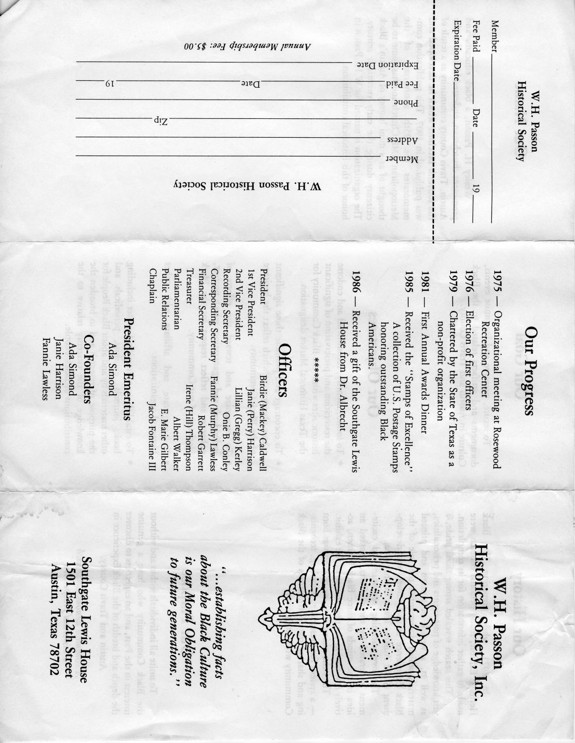 W.H. Passon Historical Society Pamphlet                                                                                                      [Sequence #]: 1 of 2