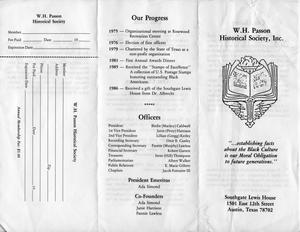 W.H. Passon Historical Society Pamphlet