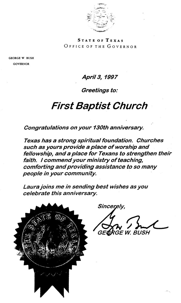 Letter From Governor George W Bush The Portal To Texas History