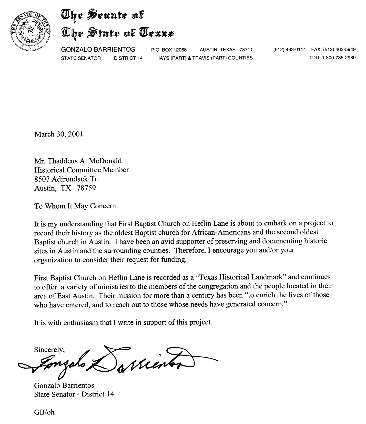 letter to a senator letter from state senator gonzalo barrientos page 1 of 1 23177 | high res