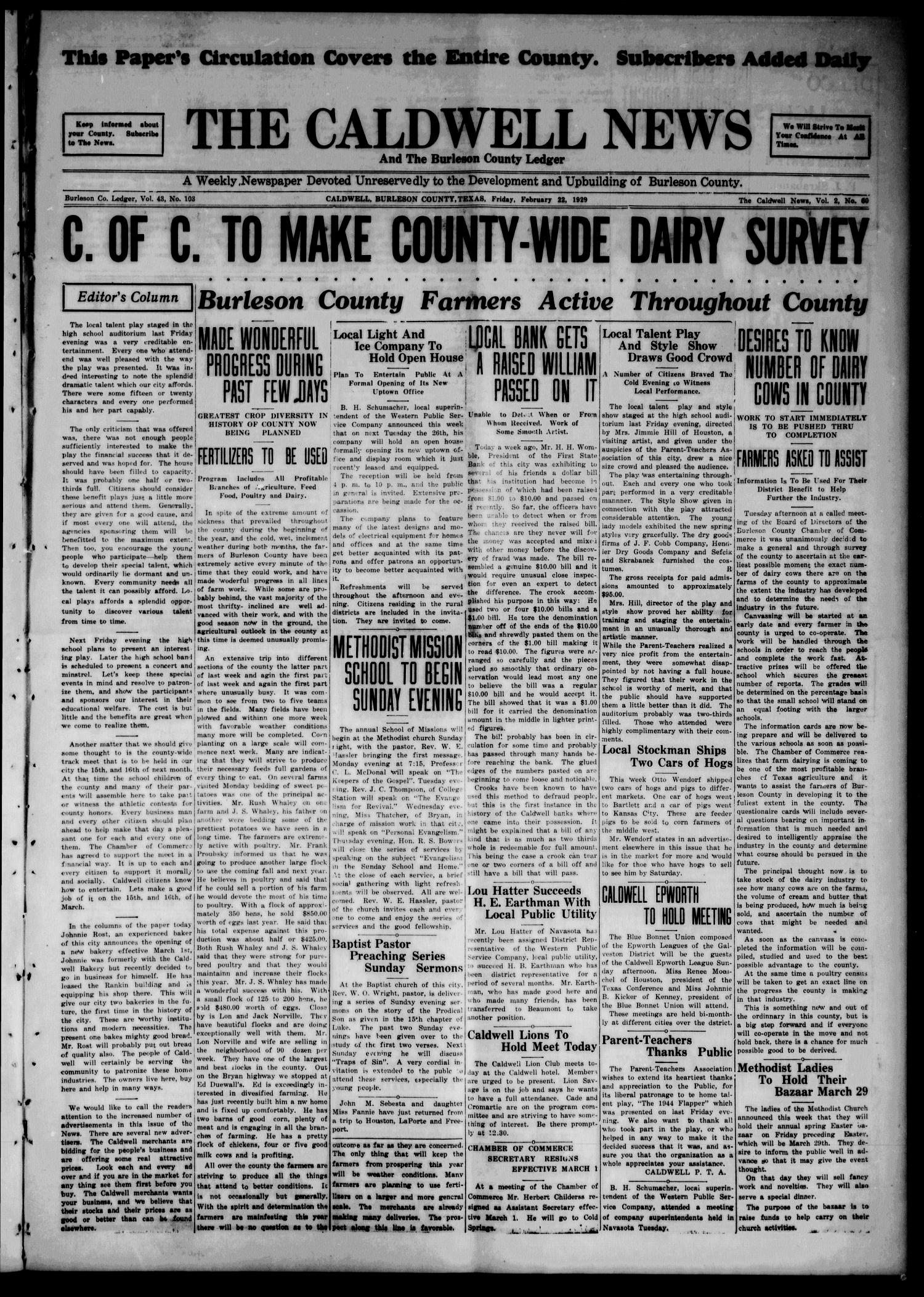 The Caldwell News and The Burleson County Ledger (Caldwell, Tex.), Vol. 43, No. 103, Ed. 1 Friday, February 22, 1929                                                                                                      [Sequence #]: 1 of 8
