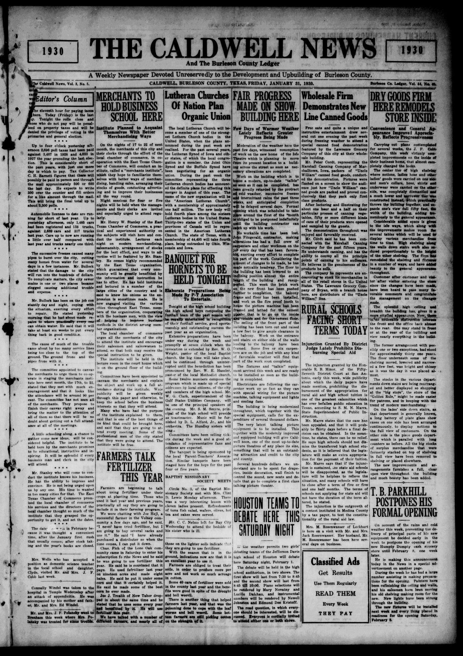 The Caldwell News and The Burleson County Ledger (Caldwell, Tex.), Vol. 44, No. 45, Ed. 1 Friday, January 31, 1930                                                                                                      [Sequence #]: 1 of 8