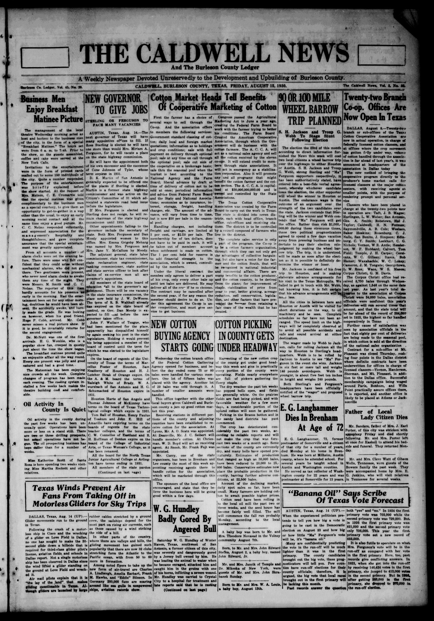 The Caldwell News and The Burleson County Ledger (Caldwell, Tex.), Vol. 45, No. 20, Ed. 1 Friday, August 15, 1930                                                                                                      [Sequence #]: 1 of 8