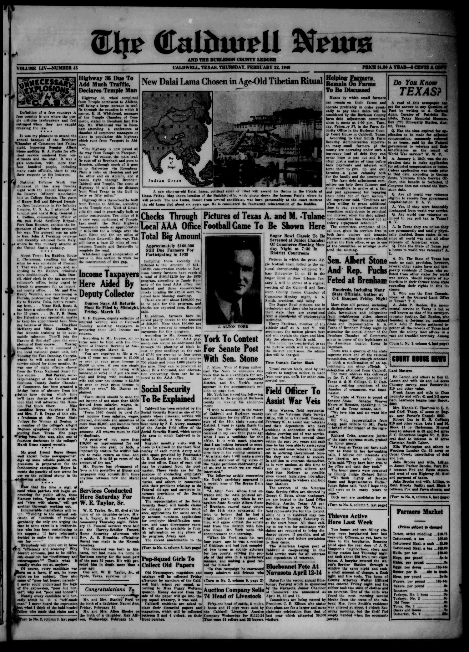 The Caldwell News and The Burleson County Ledger (Caldwell, Tex.), Vol. 54, No. 45, Ed. 1 Thursday, February 22, 1940                                                                                                      [Sequence #]: 1 of 6