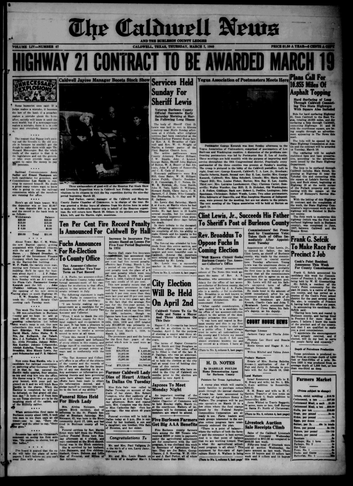 The Caldwell News and The Burleson County Ledger (Caldwell, Tex.), Vol. 54, No. 47, Ed. 1 Thursday, March 7, 1940                                                                                                      [Sequence #]: 1 of 8