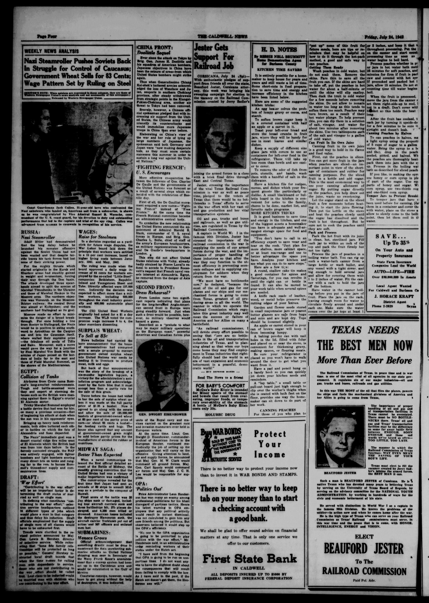 The Caldwell News and The Burleson County Ledger (Caldwell, Tex.), Vol. 57, No. 1, Ed. 1 Friday, July 24, 1942                                                                                                      [Sequence #]: 4 of 6