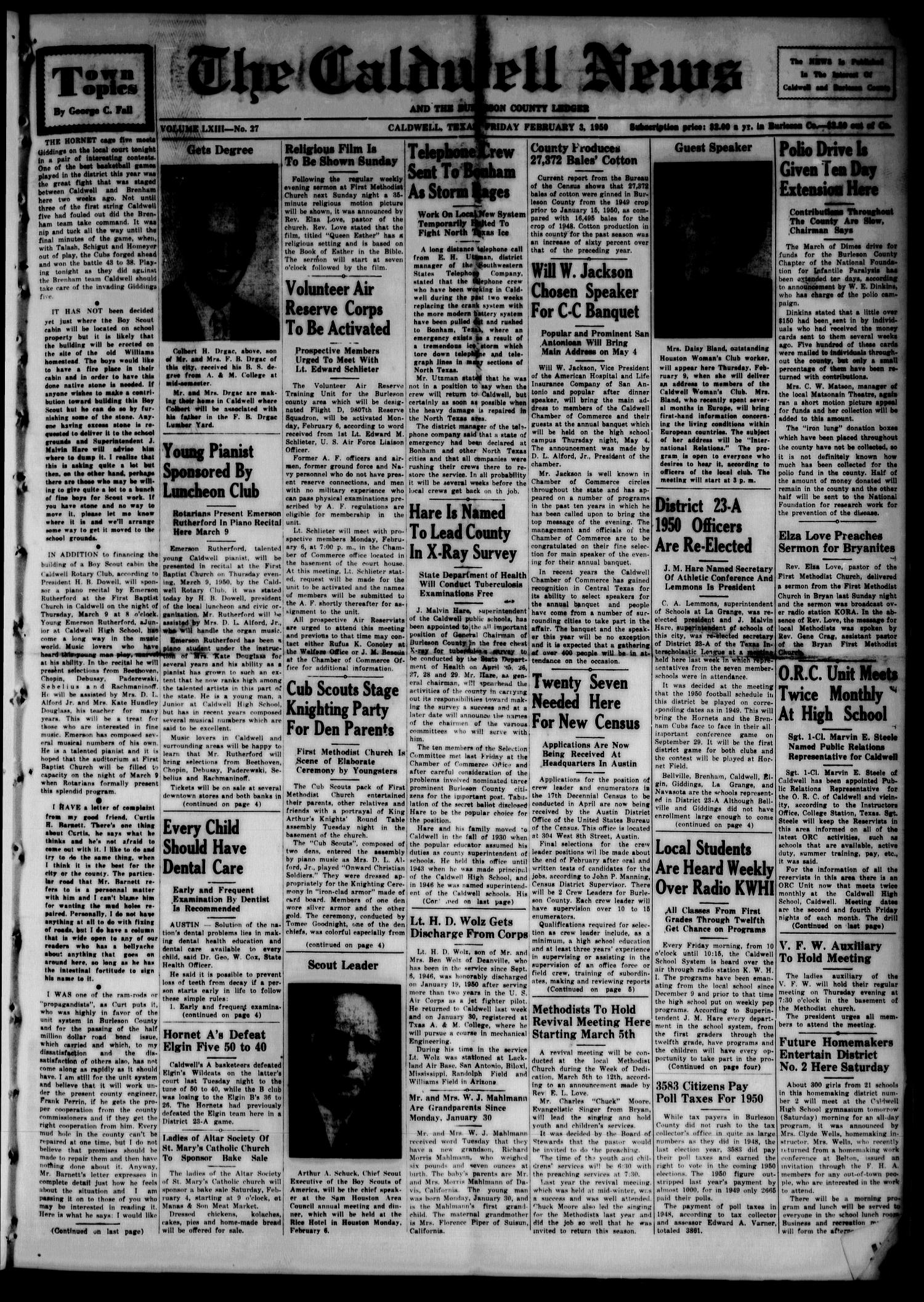 The Caldwell News and The Burleson County Ledger (Caldwell, Tex.), Vol. 63, No. 27, Ed. 1 Friday, February 3, 1950                                                                                                      [Sequence #]: 1 of 8