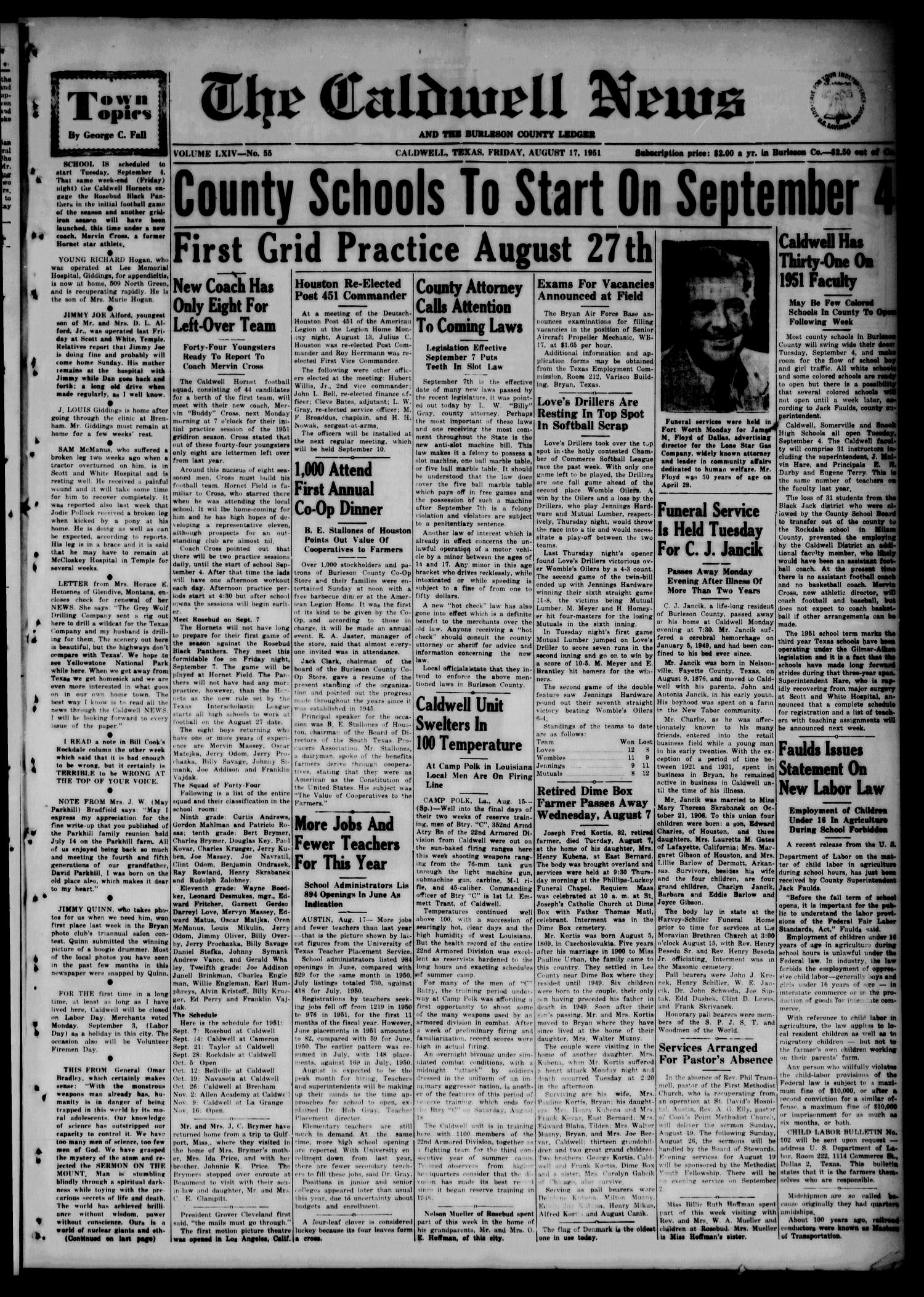 The Caldwell News and The Burleson County Ledger (Caldwell, Tex.), Vol. 64, No. 55, Ed. 1 Friday, August 17, 1951                                                                                                      [Sequence #]: 1 of 8