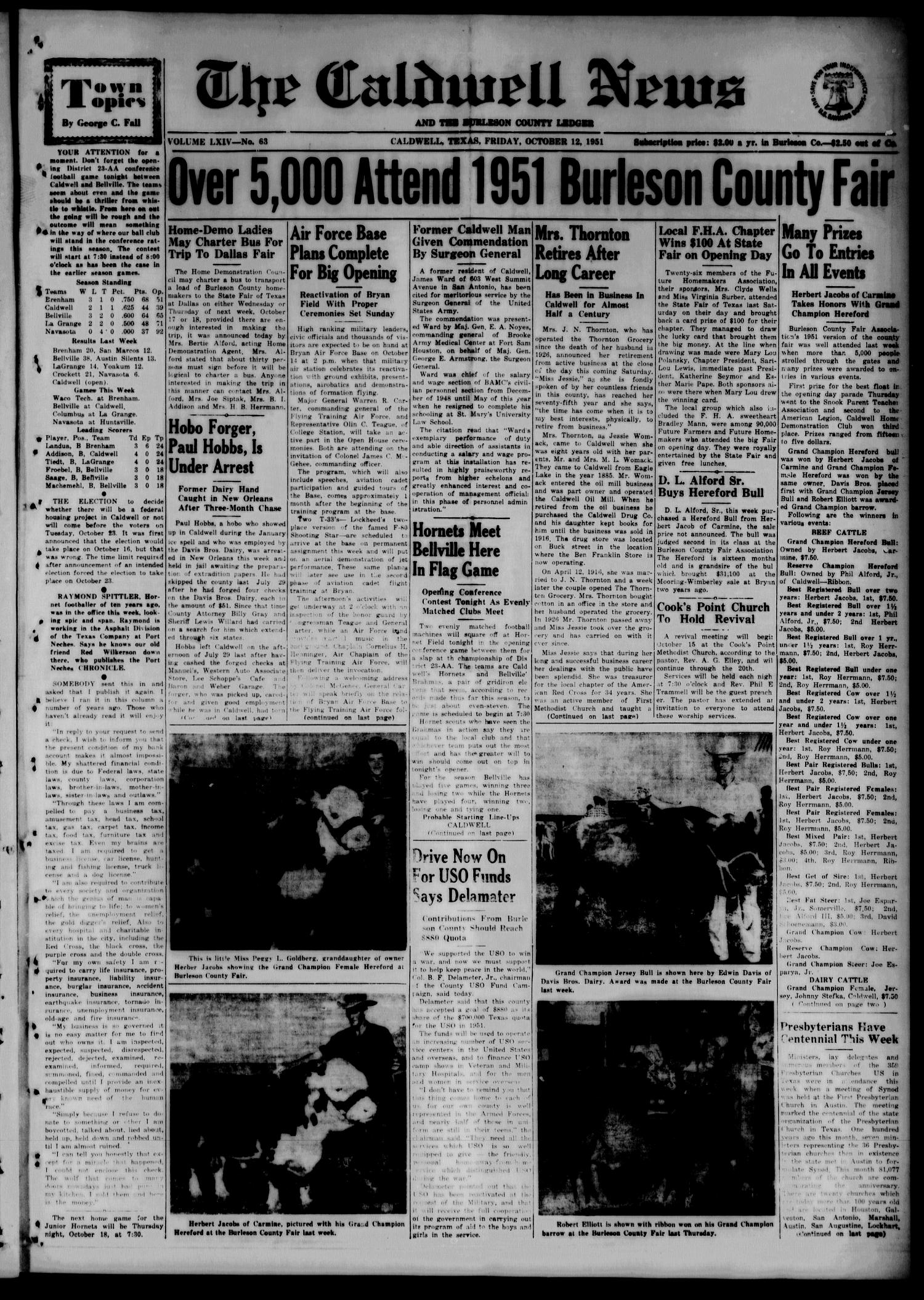 The Caldwell News and The Burleson County Ledger (Caldwell, Tex.), Vol. 64, No. 63, Ed. 1 Friday, October 12, 1951                                                                                                      [Sequence #]: 1 of 10
