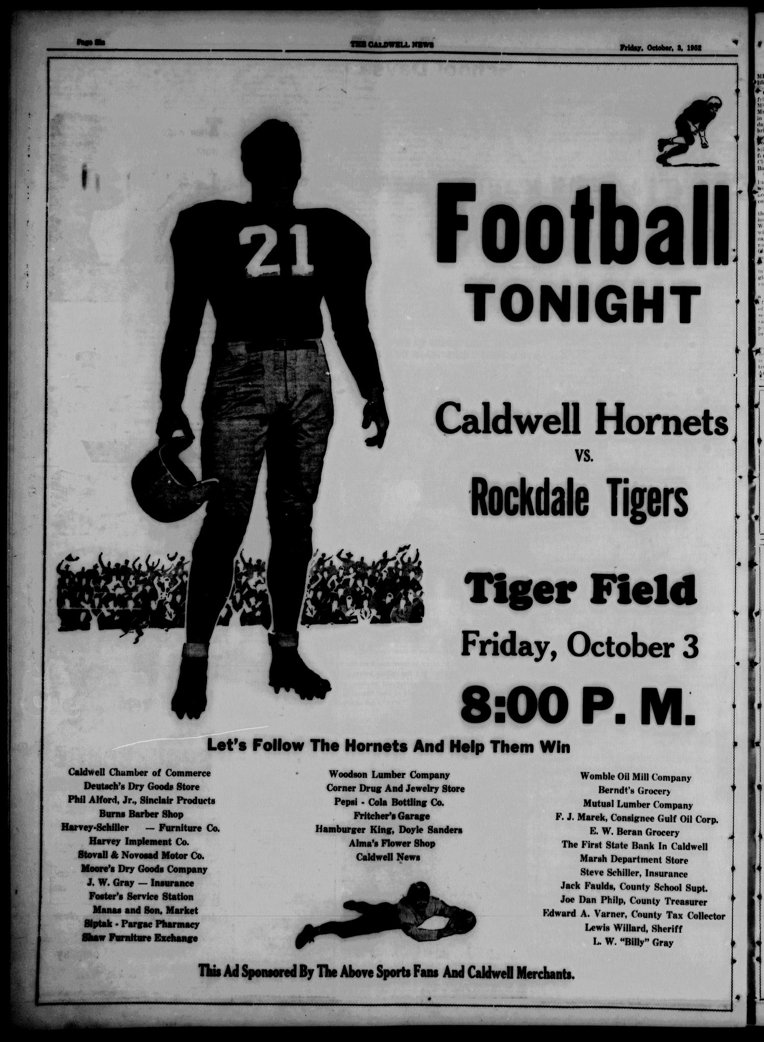 The Caldwell News and The Burleson County Ledger (Caldwell, Tex.), Vol. 65, No. 9, Ed. 1 Friday, October 3, 1952                                                                                                      [Sequence #]: 6 of 16