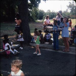 Primary view of object titled '[Children at a Library Picnic]'.