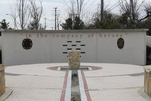 "Primary view of object titled '[Heroes' Park ""We Remember Wall"" and ""Remembrance Courtyard"", view 1]'."