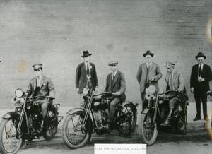 Primary view of object titled '[APD Motorcycle Patrol Unit, 1922, left view]'.