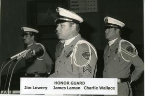 [APD Honor Guard members making speech, 1986]