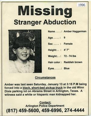 "Primary view of object titled '[APD ""Missing"" flyer for Amber Haggerman, 1996]'."