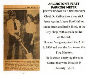 Primary view of object titled '[Arlington's first parking meter, 1950's]'.