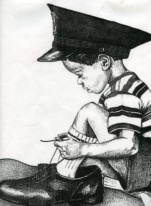 Primary view of object titled '[Arlington Police Detective Ann Thompson's drawing of a child]'.