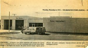 Primary view of object titled '[Arlington Police Substation 1 described in the Arlington Citizen Journal, 1973, 1st view]'.