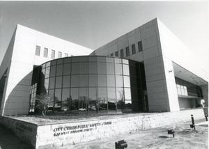 Primary view of object titled '[Ott Cribbs Public Safety Building front entrance, 1989]'.