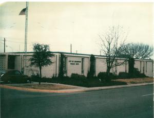 Primary view of object titled '[Arlington Police Station, 717 W. Main Street building entrance, 1964]'.